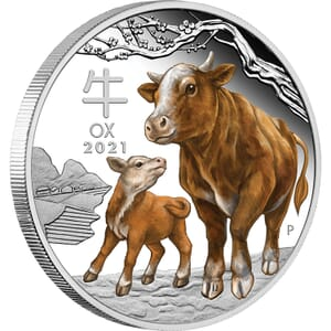 2021 $5 Lunar Year Of The Ox 1oz Silver Proof Domed Coin ...